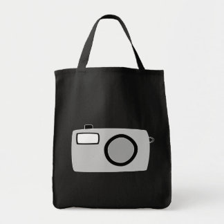 Light Gray and Black Camera. On Black. Tote Bag
