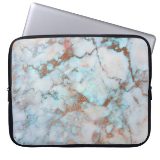 Light Gray And Brown Marble Stone Pattern Laptop Sleeves
