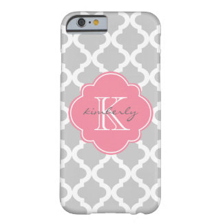 Light Gray and Pink Moroccan Quatrefoil Print Barely There iPhone 6 Case