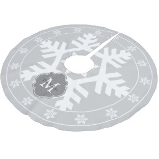 Light Gray and Snowflake Brushed Polyester Tree Skirt