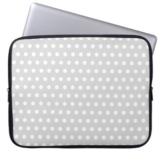 Light Gray and White Polka Dot Pattern. Laptop Sleeve