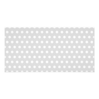 Light Gray and White Polka Dot Pattern. Personalised Photo Card