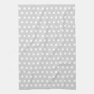 Light Gray and White Polka Dot Pattern. Tea Towel