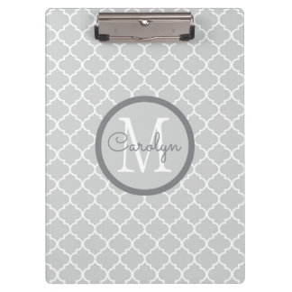 Light Gray and White Quatrefoil Personalized Clipboard
