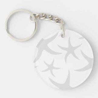 Light Gray and White Starfish Pattern. Key Ring