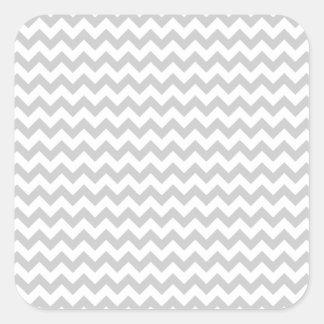 Light Gray Chevron (thin lines) Pattern Square Sticker