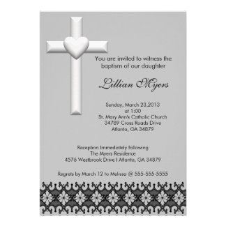 Light Gray Elegant Lace Baptism Christening Invite