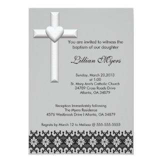 Light Gray Elegant Lace Baptism/Christening Invite
