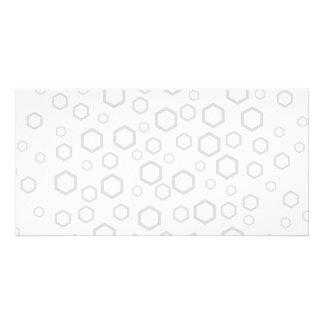 Light Gray Hexagon Outlines. Pattern. Custom Photo Card