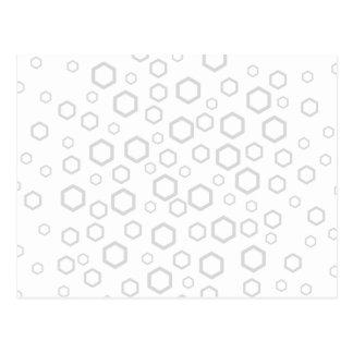 Light Gray Hexagon Outlines. Pattern. Postcard