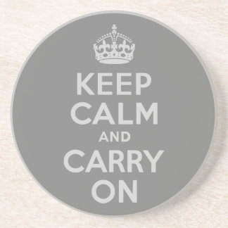 Light Gray Keep Calm and Carry On Coaster
