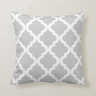 Light Gray Moroccan Quatrefoil Print Cushion