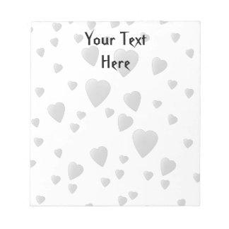 Light Gray Pattern of Love Hearts. Notepad