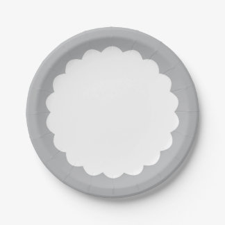 Light Gray Scallop - Personalizable Paper Plate