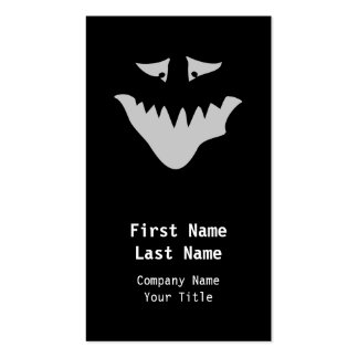Light Gray Scary Face. Monster. Pack Of Standard Business Cards