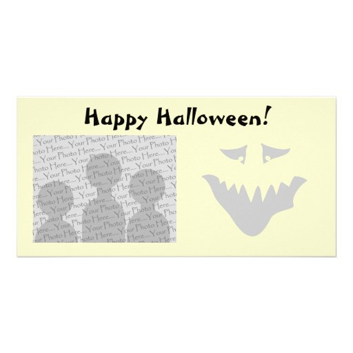 Light Gray Scary Face. Monster. Personalized Photo Card