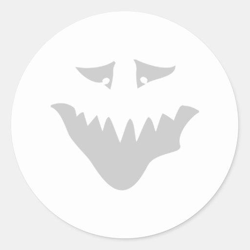 Light Gray Scary Face. Monster. Sticker