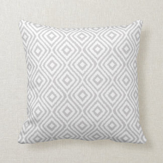 Light Gray Tribal Ikat Pattern Throw Pillow