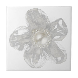 Light gray tulle flower small square tile