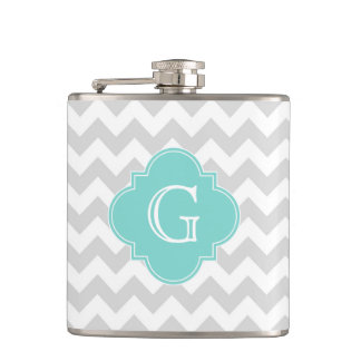 Light Gray White Chevron Aqua Quatrefoil Monogram Hip Flask