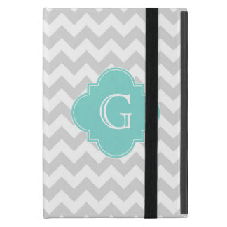 Light Gray White Chevron Aqua Quatrefoil Monogram iPad Mini Covers