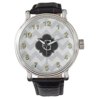 Light Gray White Chevron Black Quatrefoil Monogram Watch