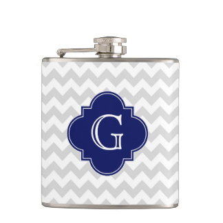Light Gray White Chevron Navy Quatrefoil Monogram Hip Flask