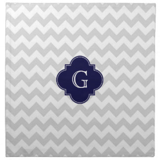 Light Gray White Chevron Navy Quatrefoil Monogram Napkin