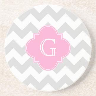 Light Gray White Chevron Pink Quatrefoil Monogram Coaster