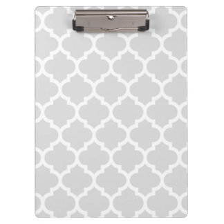 Light Gray White Moroccan Quatrefoil Pattern #5 Clipboard