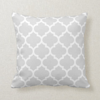 Light Gray White Moroccan Quatrefoil Pattern #5 Cushion
