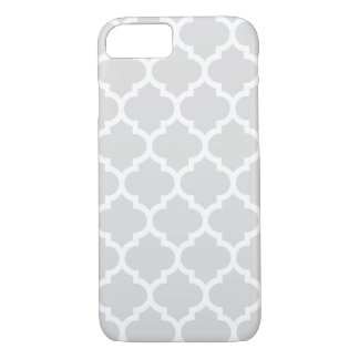 Light Gray White Moroccan Quatrefoil Pattern #5 iPhone 8/7 Case