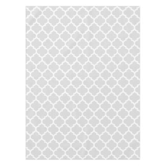 Light Gray White Moroccan Quatrefoil Pattern #5 Tablecloth