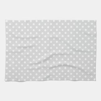 Light Gray White Polka Dot Pattern Tea Towel