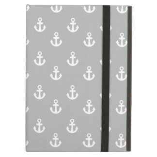 Light Gray White Ships Anchors Pattern Case For iPad Air