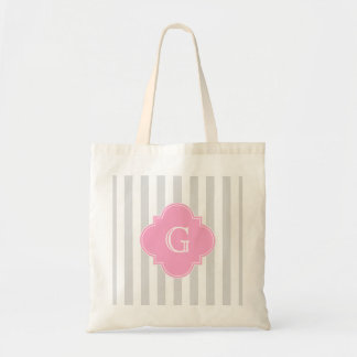 Light Gray White Stripes Pink Monogram Label Tote Bag