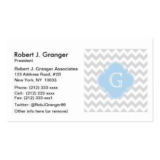 Light Gray Wht Chevron Lt Blue Quatrefoil Monogram Pack Of Standard Business Cards