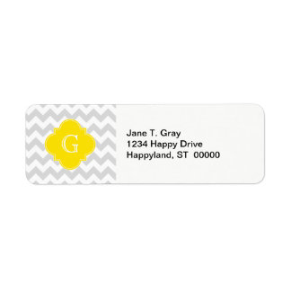 Light Gray Wht Chevron Yellow Quatrefoil Monogram Return Address Label