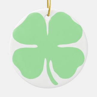 light green 4 leaf clover shamrock.png christmas ornament