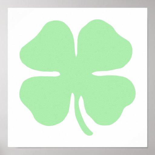 light green 4 leaf clover shamrock.png posters