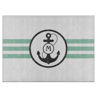 Light Green Anchor Monogram Cutting Board