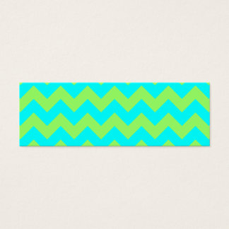 Light Green and Aqua Zigzag Mini Business Card