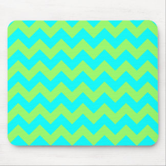 Light Green and Aqua Zigzag Mouse Mat