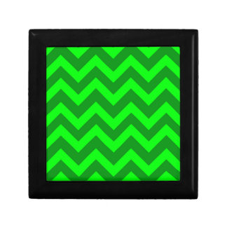 Light Green And Dark Green Chevrons Small Square Gift Box