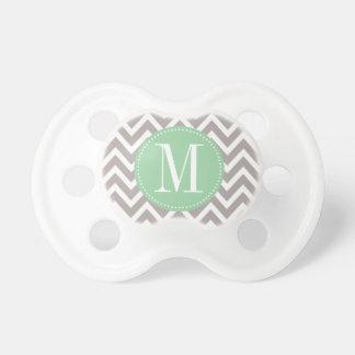 Light Green and Grey Chevron Custom Monogram Baby Pacifiers