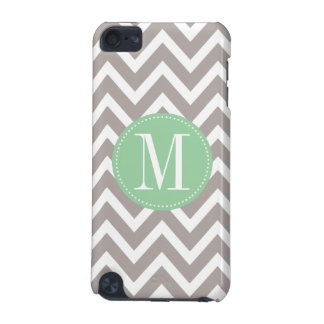 Light Green and Grey Chevron Custom Monogram iPod Touch (5th Generation) Covers