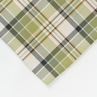 Light Green and Navy Rustic Plaid Fleece Blanket