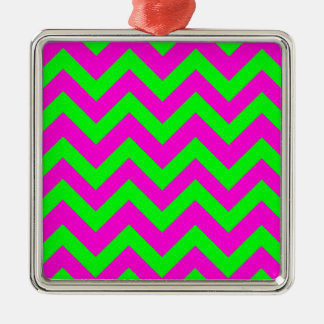 Light Green And Pink Chevrons Silver-Colored Square Decoration