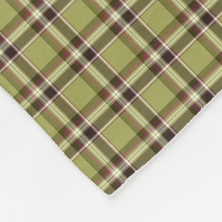 Light Green and Purple Rustic Plaid Fleece Blanket