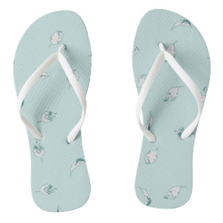 Light Green and White Leaves Flip Flops